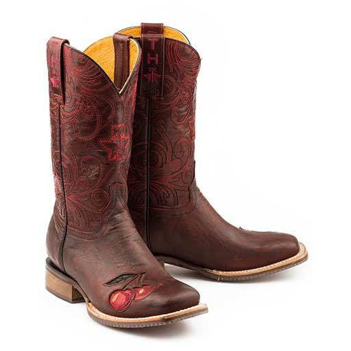 Women's Tin Haul Mon Cherry Boots With Skull And Roses Sole Handcrafted - yeehawcowboy