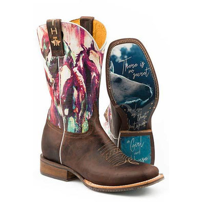 Women's Tin Haul Highbrow Horses Boots With True Love Sole Handcrafted - yeehawcowboy