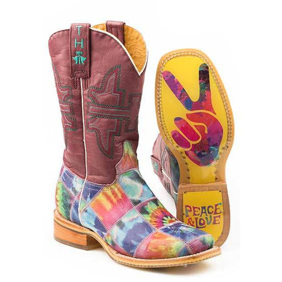 Women's Tin Haul Trippy Check Boots With Peace And Love Sole Handcrafted - yeehawcowboy