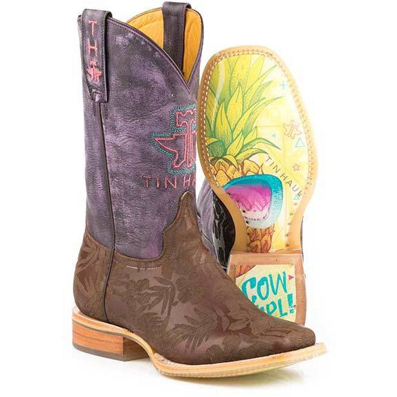 Women's Tin Haul Aloha Floral Boots With Pineapple Sole Handcrafted Brown - yeehawcowboy