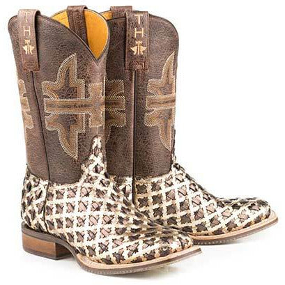 Women's Tin Haul 3D Cross Boots With Peacock Sole Handcrafted Brown - yeehawcowboy