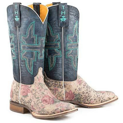 Women's Tin Haul Wild Flower Boots With Cat Eyes Sole Handcrafted Multi Color - yeehawcowboy