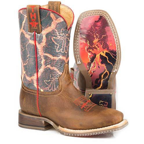 Kid's Tin Haul Volcanic Boots Beware Of Lava Sole Sole Handcrafted Brown - yeehawcowboy