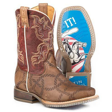 Kid's Tin Haul Twisted Rope Boots With Just Rope It Sole Handcrafted Brown - yeehawcowboy