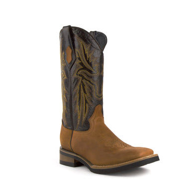 Men's Ferrini Maverick Leather Boots Handcrafted Brown - yeehawcowboy