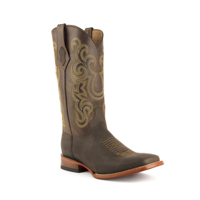 Men's Ferrini Maverick Leather Boots Handcrafted Chocolate - yeehawcowboy