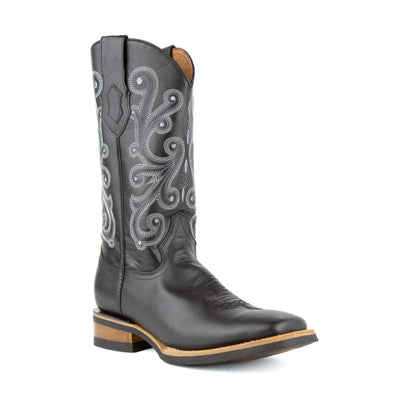 Men's Ferrini French Leather Boots Handcrafted Black - yeehawcowboy