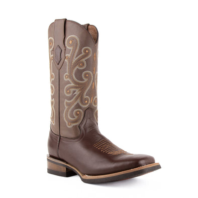 Men's Ferrini French Leather Boots Handcrafted Chocolate - yeehawcowboy