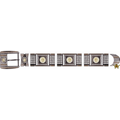Western Buckle Set Chrome With Crystal Clear Rhinestones