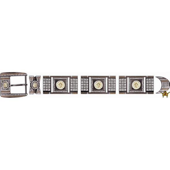 Western Buckle Set Chrome With Crystal Clear Rhinestones - yeehawcowboy