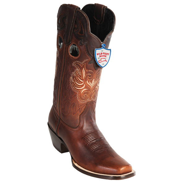 Women's Wild West Rage Leather Square Toe Boots Handmade - yeehawcowboy