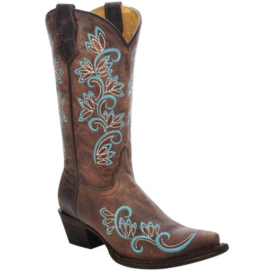 Kids Corral Western Boots Handcrafted Brown - yeehawcowboy