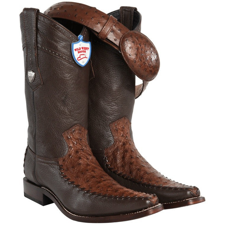 Men's Wild West Ostrich With Deer Square Toe Boots Handcrafted - yeehawcowboy