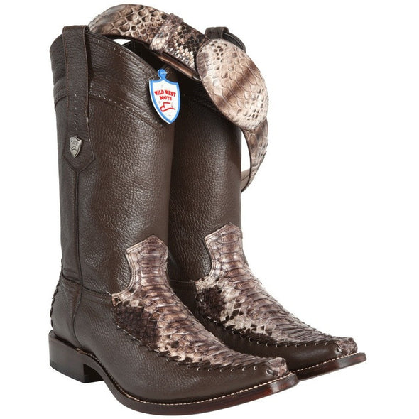 Men's Wild West Python Snakeskin With Deer Boots Handcrafted - yeehawcowboy