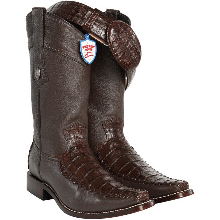 Wild West Boots-Men's Caiman Belly With Deer Cowboy Boots - yeehawcowboy