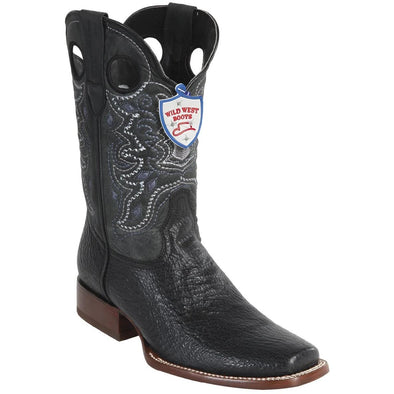 Men's Wild West Sharkskin Boots Square Toe Handcrafted - yeehawcowboy