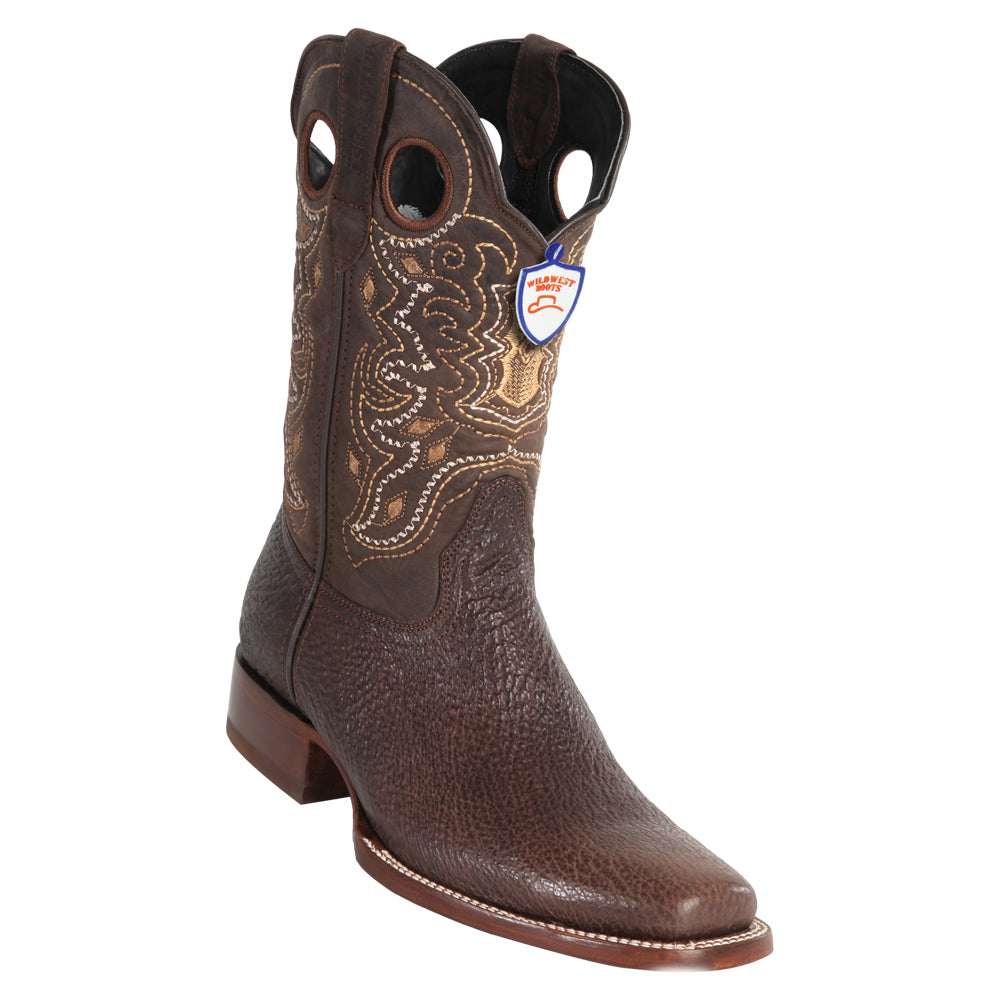 EE+ Details about  /WILD WEST BROWN GENUINE SHARK COWBOY BOOT RODEO-SQUARE-TOE RUBBER SOLE