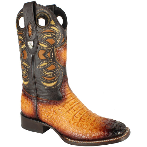 Men's Wild West Caiman Hornback Boots Square Toe Handcrafted - yeehawcowboy