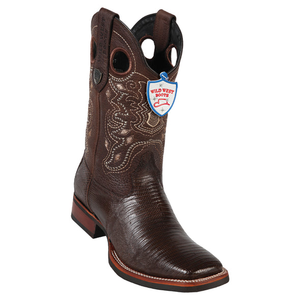 Men's Wild West Teju Lizard Wide Square Toe Rubber Sole Boots - yeehawcowboy