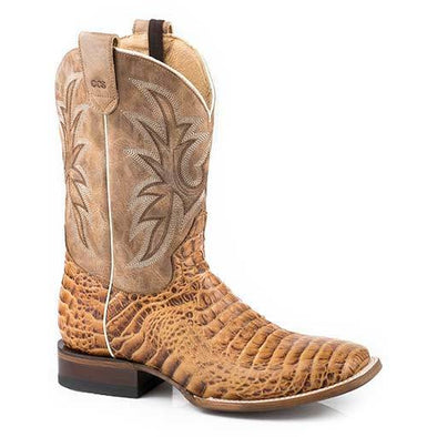 Men's Roper Pierce CCS Caiman Print Boots Handcrafted Performance System - yeehawcowboy