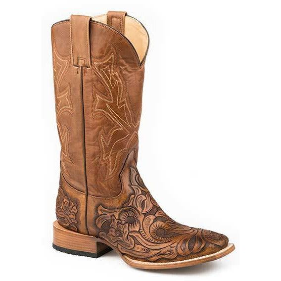 Men's Stetson Handtooled Wicks Leather Boots Handcrafted - yeehawcowboy