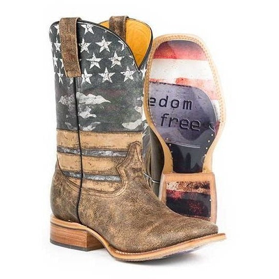 Men's Tin Haul Freedom Boots With Dog Tags Sole Handcrafted - yeehawcowboy