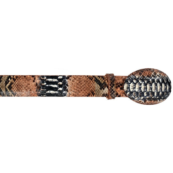 Wild West Python Belt With Removable Buckle & Leather Lining - yeehawcowboy