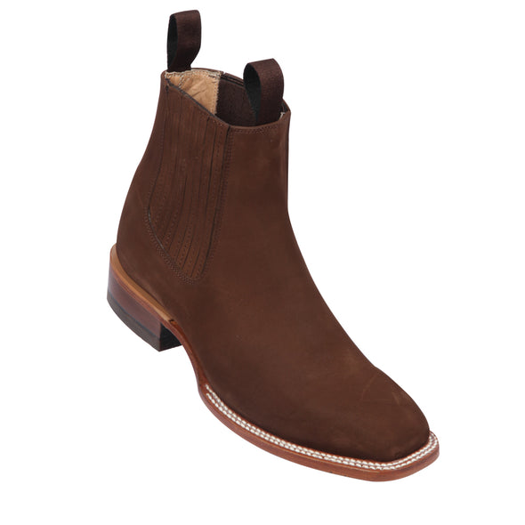Men's Quincy Suede Charro Botines Handcrafted Brown - yeehawcowboy
