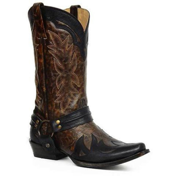 Men's Stetson Ryder Bandit Outlaw Eagle Overlay Boots Handcrafted Brown Black - yeehawcowboy