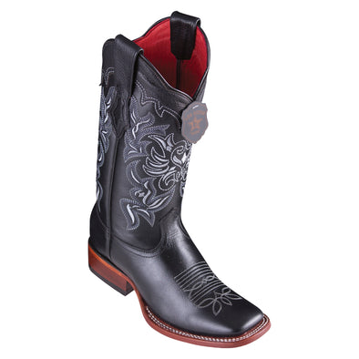 Women's Los Altos Leather Boots Wide Square Toe Handcrafted - yeehawcowboy