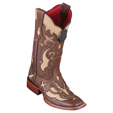 Women's Los Altos Teju Lizard Boots Wide Square Toe Handcrafted - yeehawcowboy