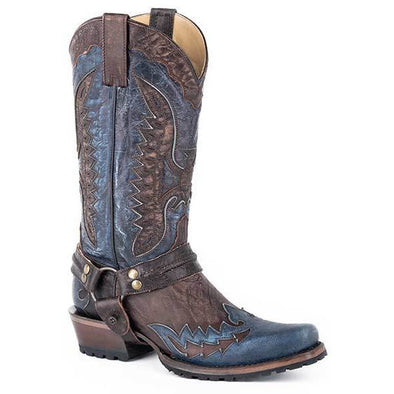 Men's Stetson Outlaw Eagle Biker Leather Boots Handcrafted Brown  Blue - yeehawcowboy