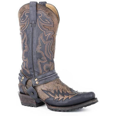 Men's Stetson Outlaw Bad Guy Biker Leather Boots Handcrafted - yeehawcowboy