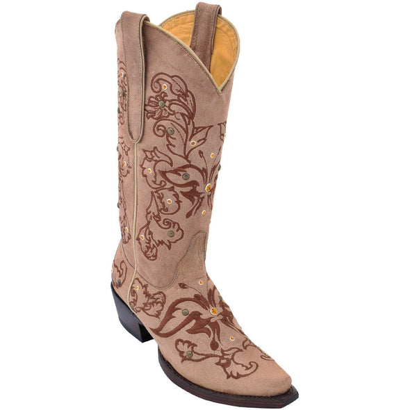 Women's Los Altos Boots With Hand Embroidery & Swarovski Stones - yeehawcowboy