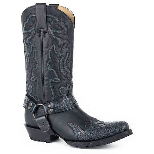 Men's Stetson Outlaw Sciver Biker Leather Boots Handcrafted - yeehawcowboy