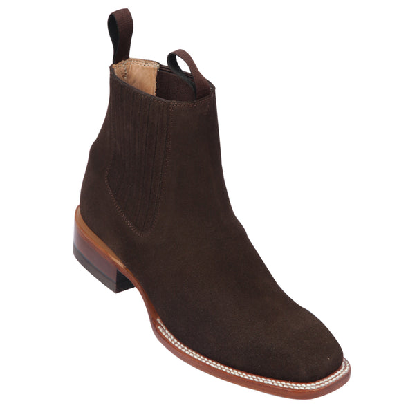 Men's Quincy Suede Charro Botines Handcrafted Chocolate - yeehawcowboy