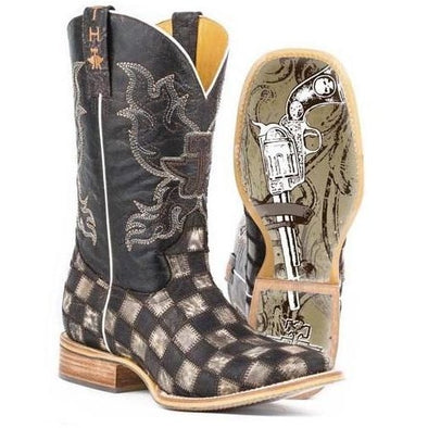 Men's Tin Haul Gunmetal Check Boots With Gunslinger Sole - yeehawcowboy