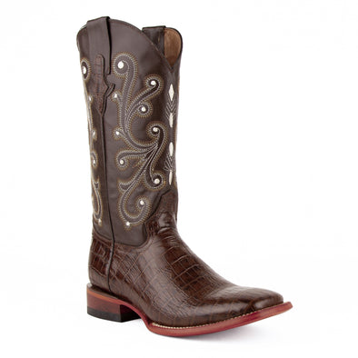 Men's Ferrini Mustang Alligator Belly Print Boots Handcrafted Chocolate - yeehawcowboy