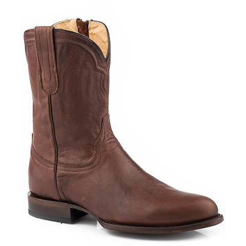 Men's Stetson Rancher Zip  Leather Boots Handcrafted Cognac - yeehawcowboy