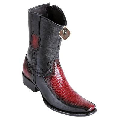 Men's King Exotic Teju Lizard Boots With Deer Dubai Toe Handcrafted - yeehawcowboy