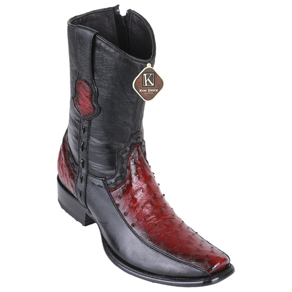 Men's King Exotic Ostrich Boots With Deer Dubai Toe Handcrafted - yeehawcowboy