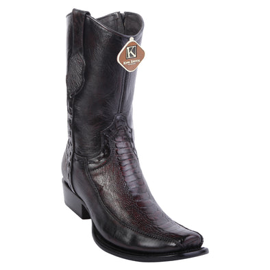Men's King Exotic Ostrich Leg Boots With Deer Dubai Toe Handcrafted - yeehawcowboy