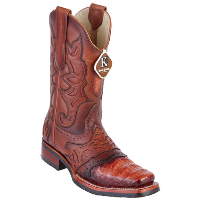 Men's King Exotic Caiman Belly Boots With Saddle Vamp Handmade - yeehawcowboy