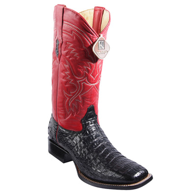 Men's King Exotic Wide Square Toe Caiman Boots Handmade - yeehawcowboy