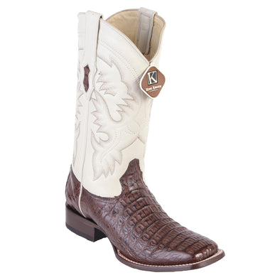 Men's King Exotic Square Toe Smooth Caiman Boots Handcrafted - yeehawcowboy