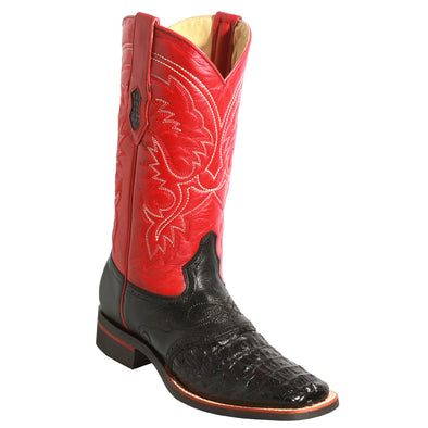 Men's King Exotic Caiman Crepe Sole Square Toe Boots With Saddle - yeehawcowboy