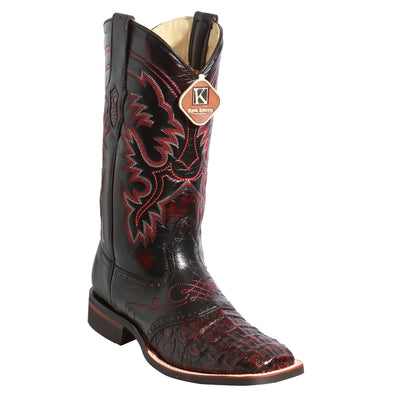Men's King Exotic Square Toe Smooth Caiman Boots Rubber Sole - yeehawcowboy