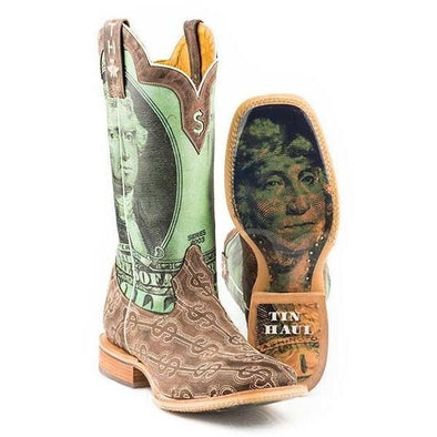 Men's Tin Haul Deuce Boots With Take The Money And Run Sole Handcrafted - yeehawcowboy