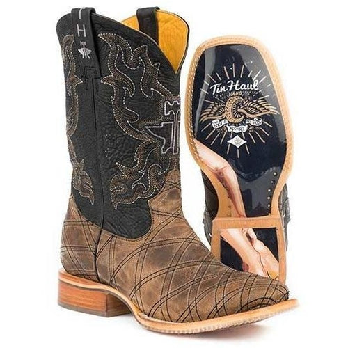 Men's Tin Haul What's Your Angle Boot With Pin Up Girl Sole Handmade - yeehawcowboy