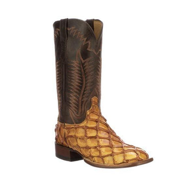 Men's Lucchese Brooks Pirarcu Fish Boots Handcrafted Cognac - yeehawcowboy